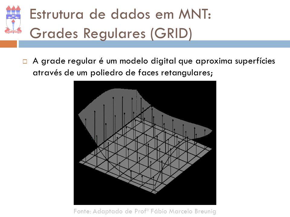 Estrutura de dados em MNT: Grades Regulares (GRID) A grade regular é um modelo digital que aproxima superfícies através de um poliedro de faces retang