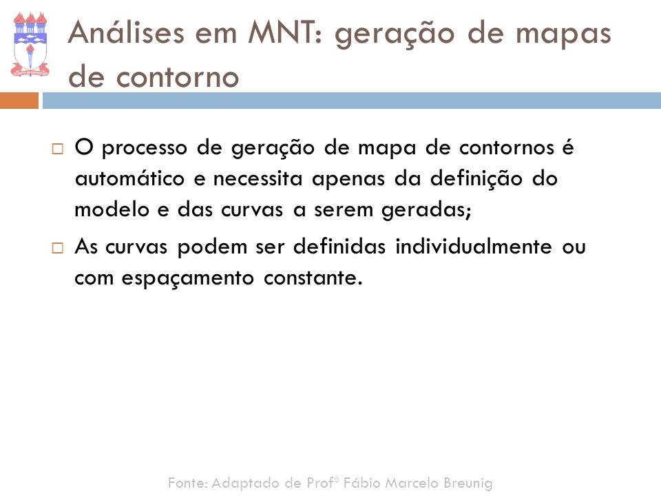 O processo de geração de mapa de contornos é automático e necessita apenas da definição do modelo e das curvas a serem geradas; As curvas podem ser de