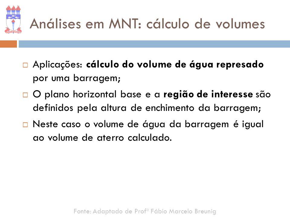 Fonte: Adaptado de Profº Fábio Marcelo Breunig Análises em MNT: cálculo de volumes Aplicações: cálculo do volume de água represado por uma barragem; O
