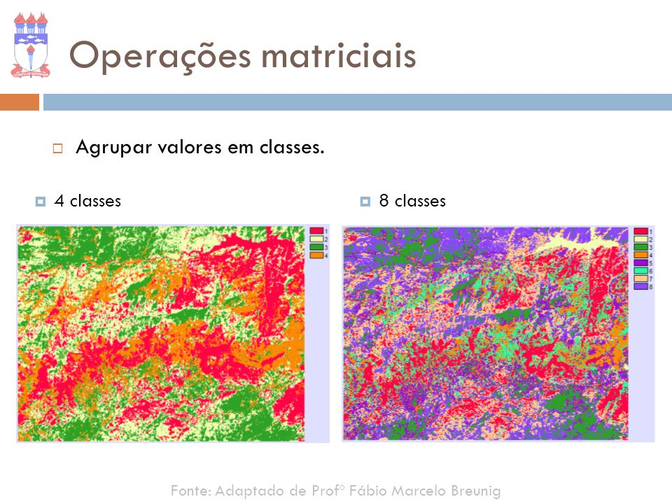 Fonte: Adaptado de Profº Fábio Marcelo Breunig Operações matriciais Agrupar valores em classes. 4 classes 8 classes