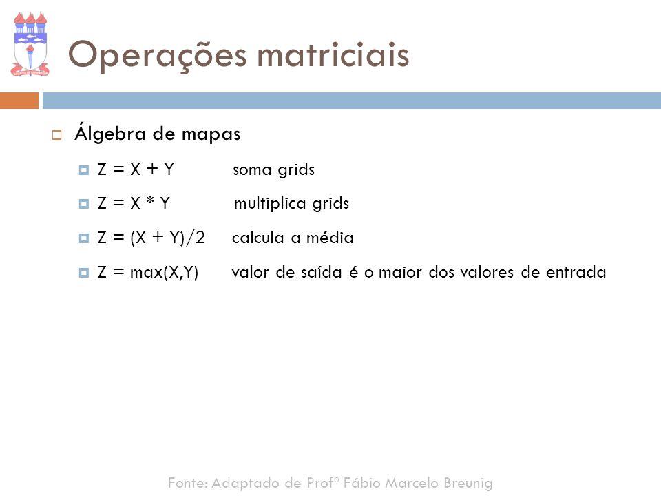 Fonte: Adaptado de Profº Fábio Marcelo Breunig Operações matriciais Álgebra de mapas Z = X + Y soma grids Z = X * Y multiplica grids Z = (X + Y)/2 cal