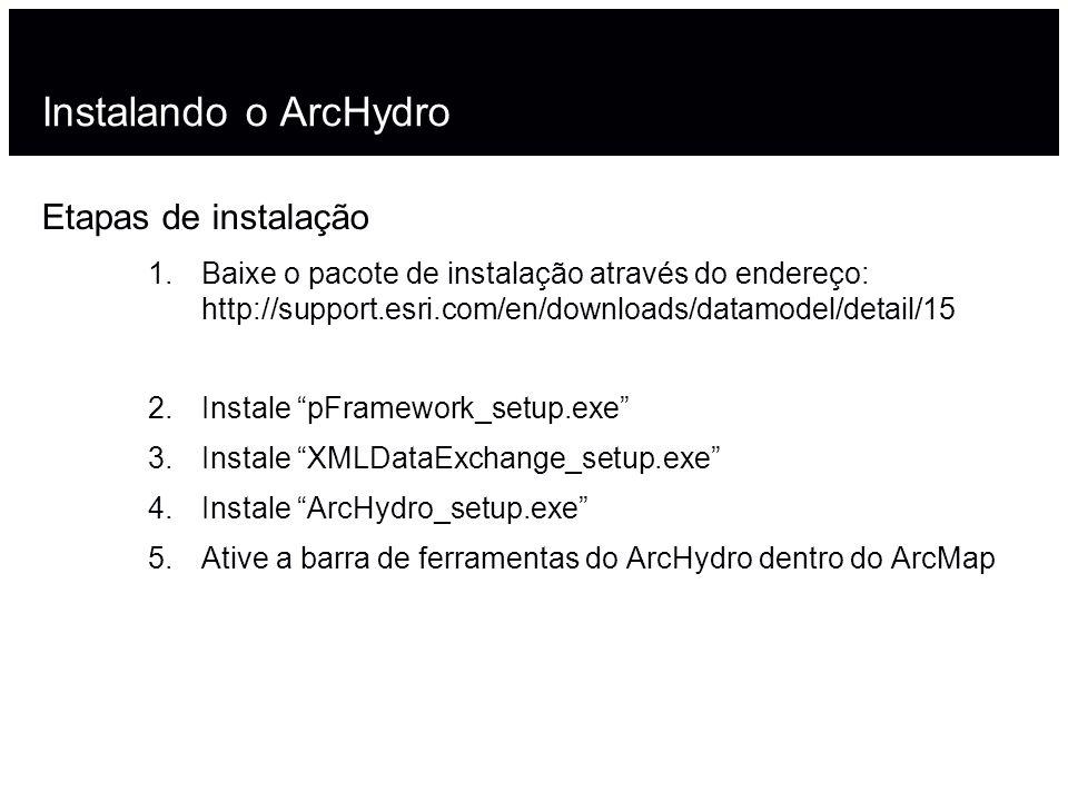 Instalando o ArcHydro Etapas de instalação 1.Baixe o pacote de instalação através do endereço: http://support.esri.com/en/downloads/datamodel/detail/1