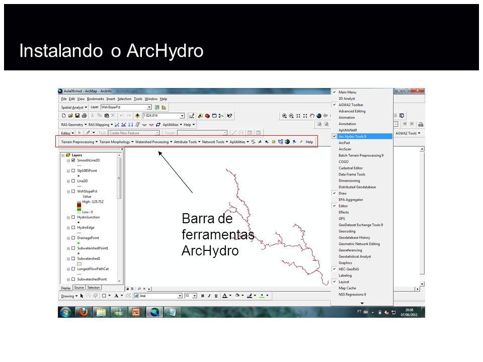Instalando o ArcHydro Barra de ferramentas ArcHydro