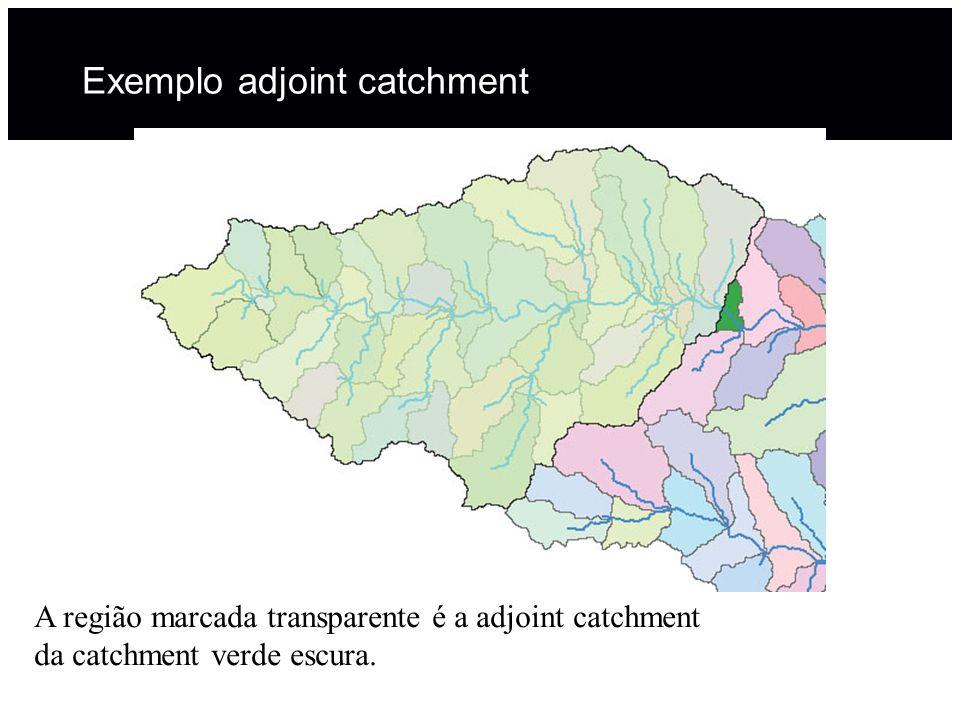 Exemplo adjoint catchment A região marcada transparente é a adjoint catchment da catchment verde escura.