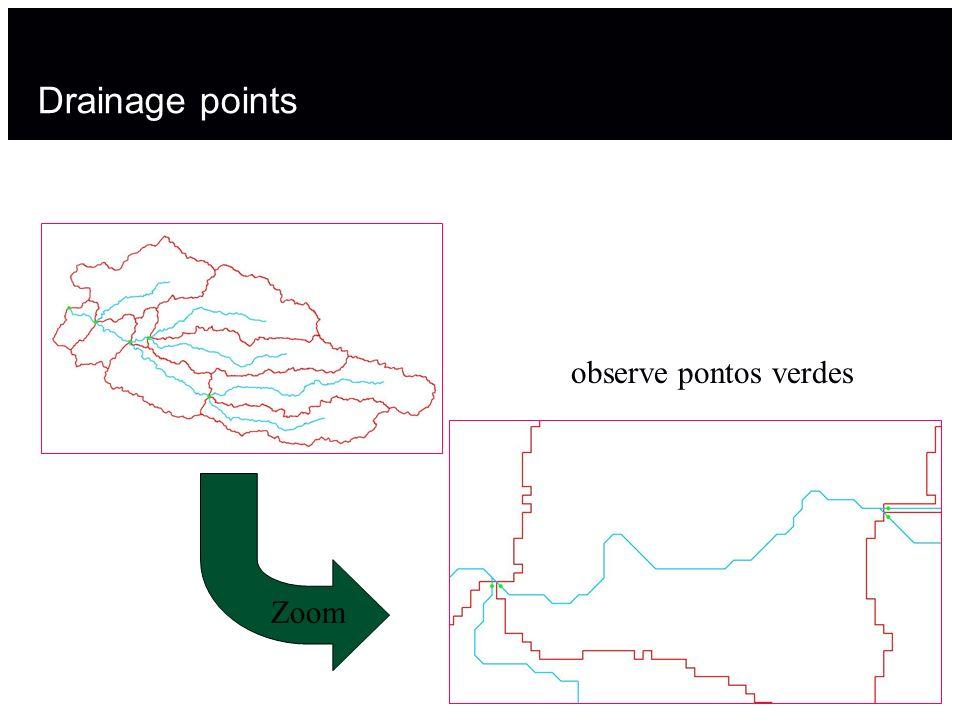 Drainage points Zoom observe pontos verdes