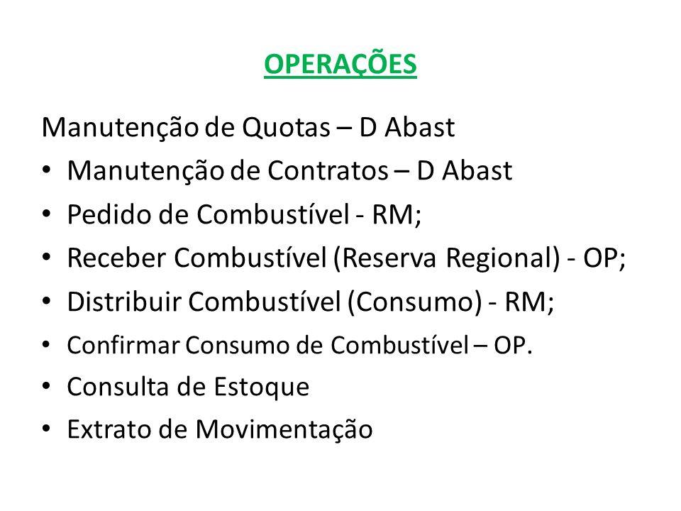 Manutenção de Quotas – D Abast Clique para criar uma Nova quota Lista das quotas criadasClique para mudar o nome Clique para remover