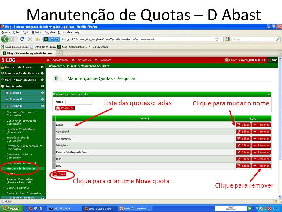 Manutenção de Contrato – D Abast Clique para criar uma Novo contrato Clique para gerar o mapa de contratos Campos para filtragem de pesquisa Lista dos contratos existentes Detalhar Excluir