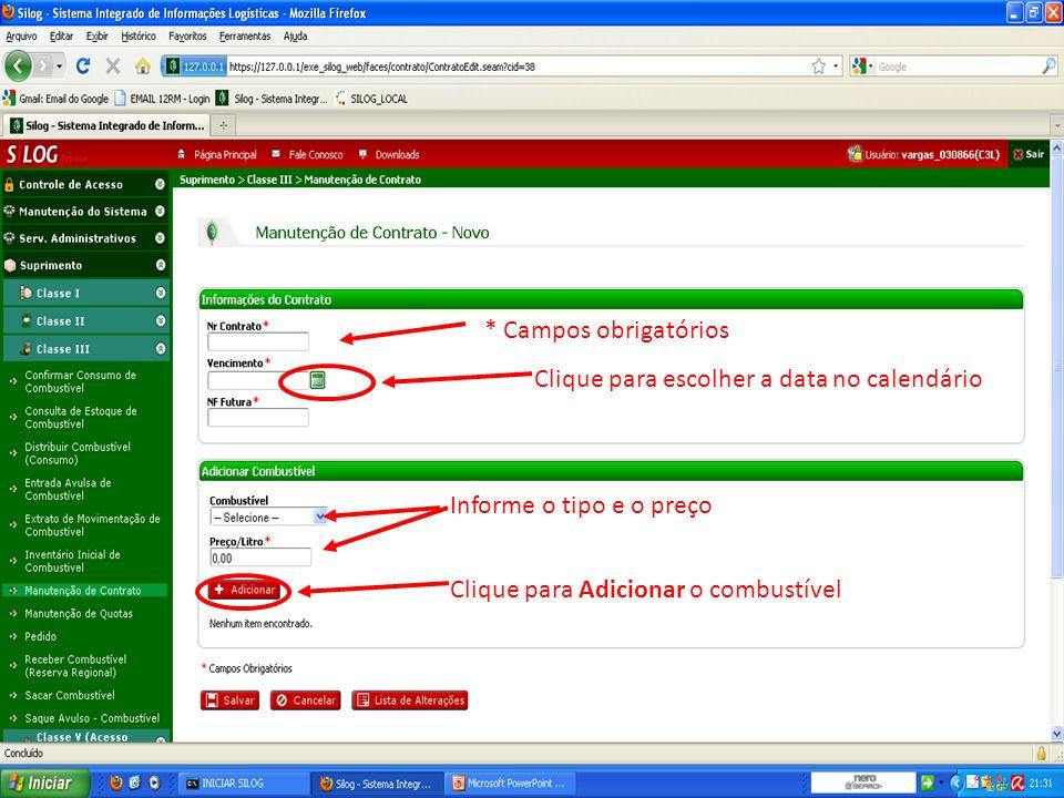 Clique para Salvar o contrato Informe a quantidade de litros para cada quota Clique para ver a Lista de Alterações
