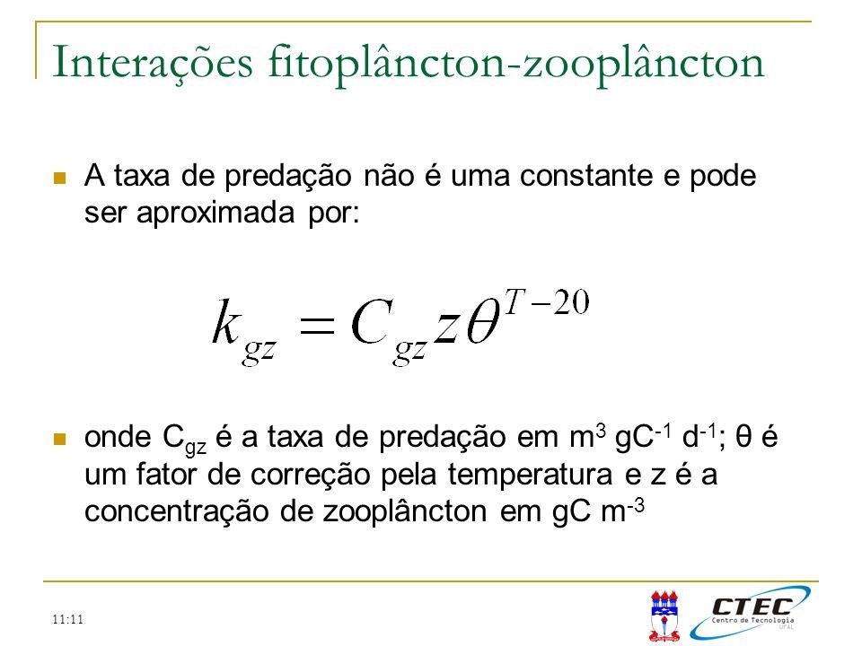 11:11 Interações fitoplâncton-zooplâncton A taxa de predação não é uma constante e pode ser aproximada por: onde C gz é a taxa de predação em m 3 gC -