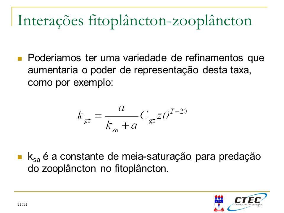 11:11 Interações fitoplâncton-zooplâncton Poderiamos ter uma variedade de refinamentos que aumentaria o poder de representação desta taxa, como por ex