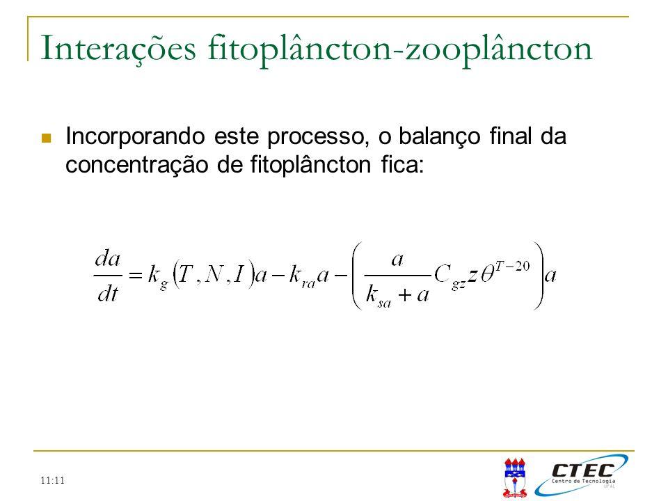 11:11 Interações fitoplâncton-zooplâncton Incorporando este processo, o balanço final da concentração de fitoplâncton fica:
