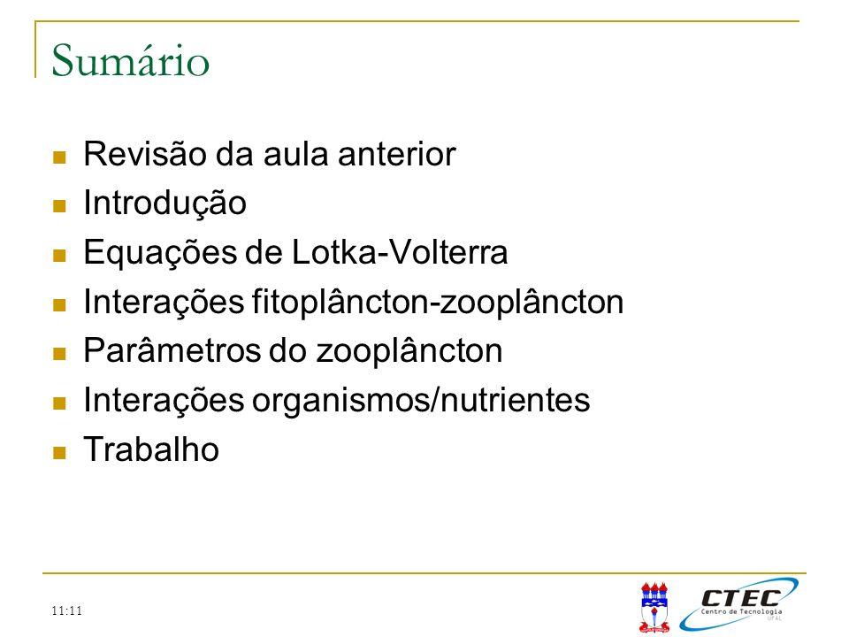 11:11 Sumário Revisão da aula anterior Introdução Equações de Lotka-Volterra Interações fitoplâncton-zooplâncton Parâmetros do zooplâncton Interações