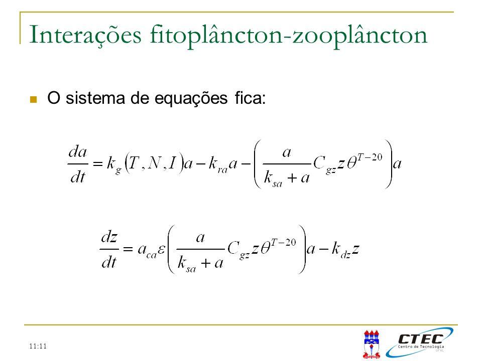 11:11 Interações fitoplâncton-zooplâncton O sistema de equações fica: