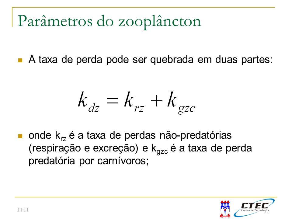 11:11 Parâmetros do zooplâncton A taxa de perda pode ser quebrada em duas partes: onde k rz é a taxa de perdas não-predatórias (respiração e excreção)