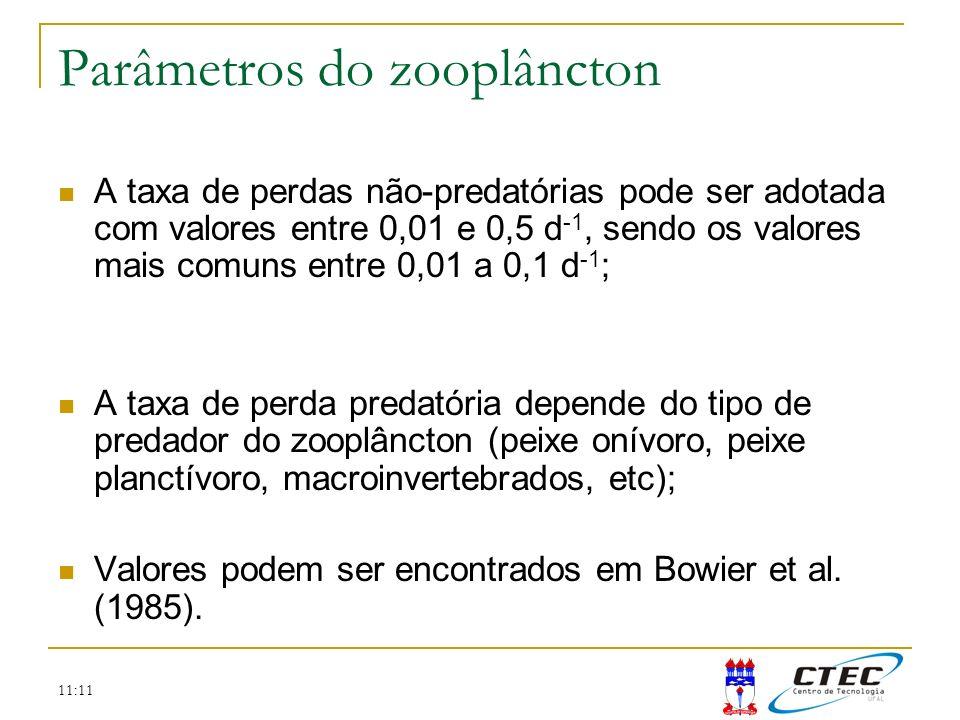 11:11 Parâmetros do zooplâncton A taxa de perdas não-predatórias pode ser adotada com valores entre 0,01 e 0,5 d -1, sendo os valores mais comuns entr