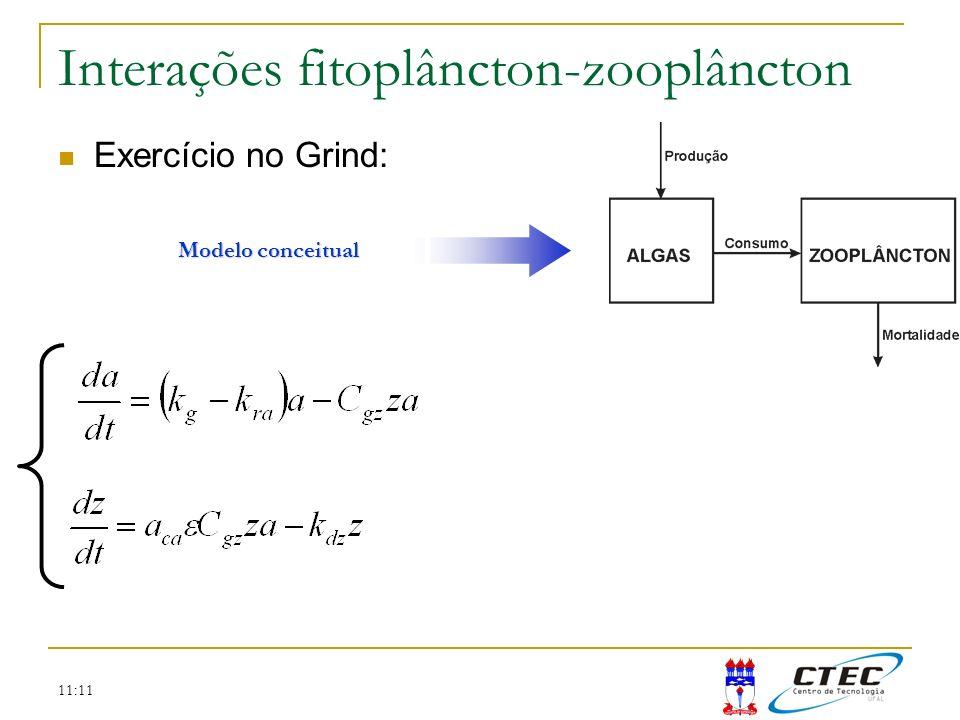 11:11 Interações fitoplâncton-zooplâncton Exercício no Grind: Modelo conceitual