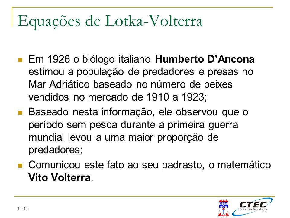 Equações de Lotka-Volterra Em 1926 o biólogo italiano Humberto DAncona estimou a população de predadores e presas no Mar Adriático baseado no número d