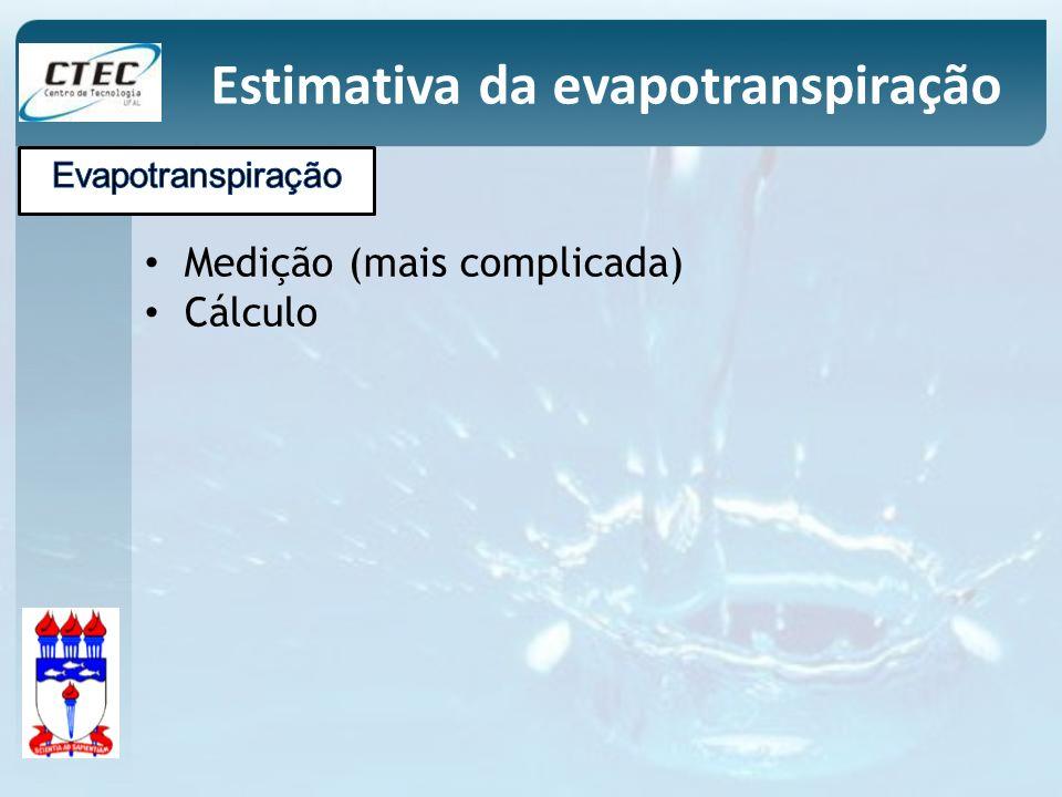 Medição (mais complicada) Cálculo Estimativa da evapotranspiração
