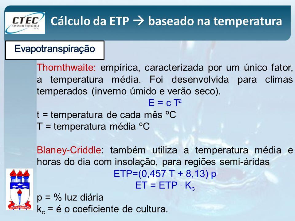 Cálculo da ETP baseado na temperatura Thornthwaite: empírica, caracterizada por um único fator, a temperatura média. Foi desenvolvida para climas temp