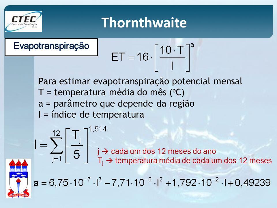 Para estimar evapotranspiração potencial mensal T = temperatura média do mês ( o C) a = parâmetro que depende da região I = índice de temperatura Thor