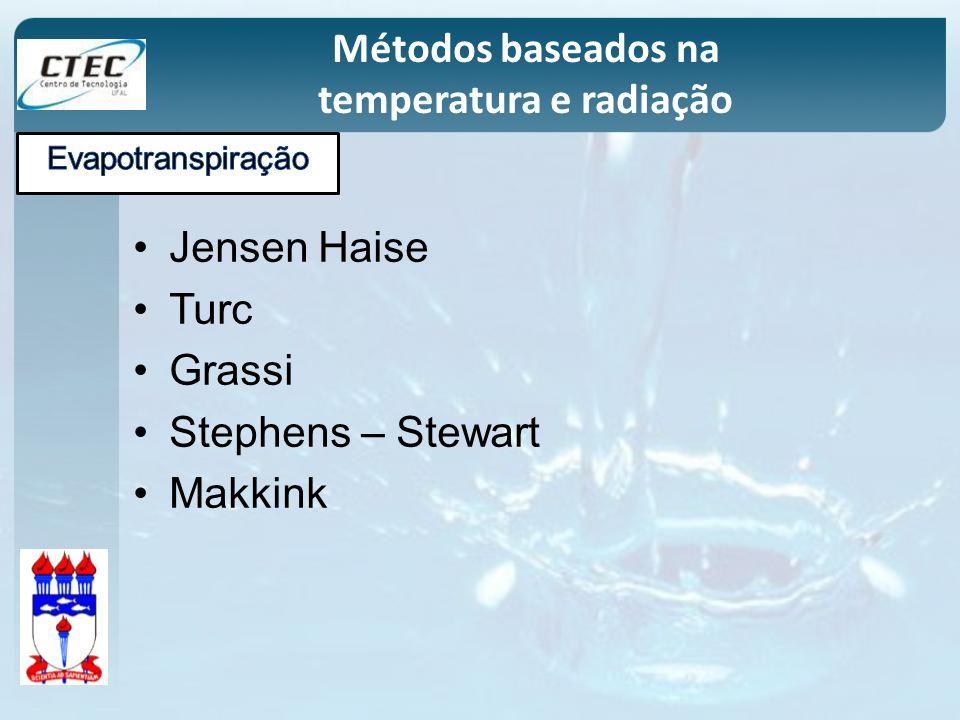 Jensen Haise Turc Grassi Stephens – Stewart Makkink Métodos baseados na temperatura e radiação