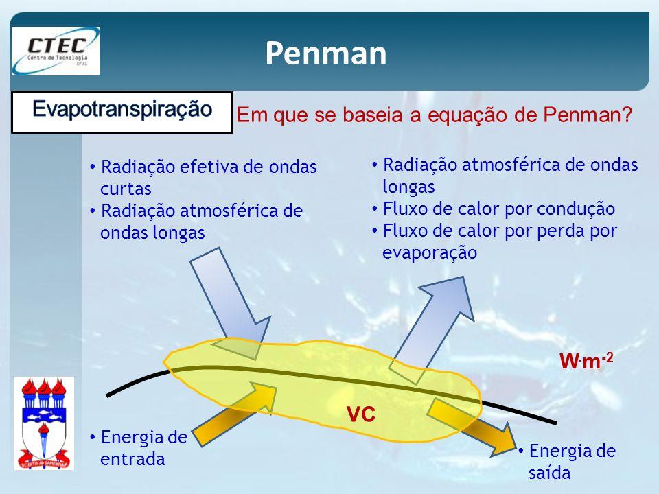 Em que se baseia a equação de Penman? Radiação efetiva de ondas curtas Radiação atmosférica de ondas longas Radiação atmosférica de ondas longas Fluxo