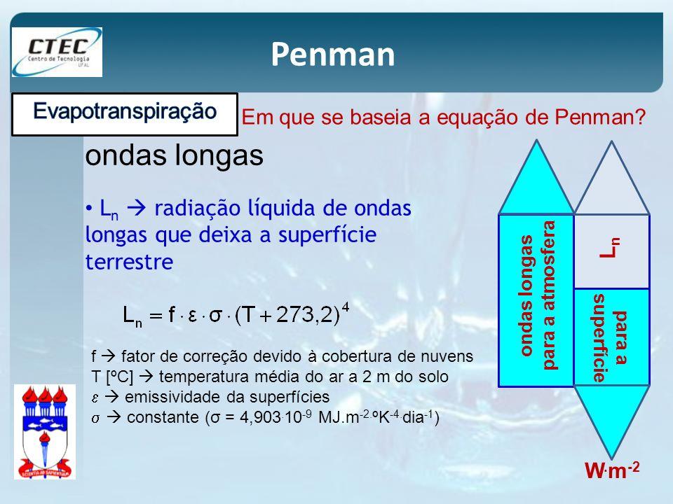 Penman Em que se baseia a equação de Penman? ondas longas L n radiação líquida de ondas longas que deixa a superfície terrestre W. m -2 ondas longas p