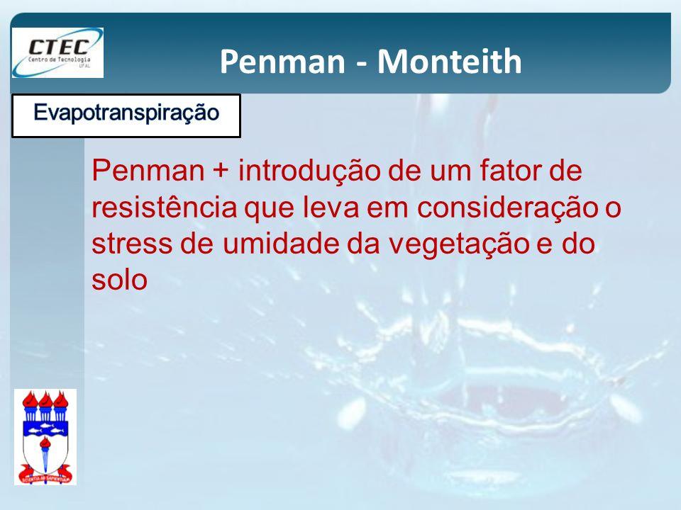 Penman - Monteith Penman + introdução de um fator de resistência que leva em consideração o stress de umidade da vegetação e do solo