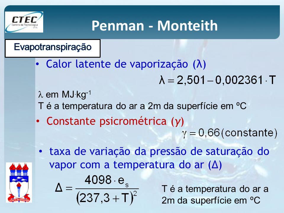 Penman - Monteith Calor latente de vaporização (λ) em MJ. kg -1 T é a temperatura do ar a 2m da superfície em ºC Constante psicrométrica (γ) taxa de v