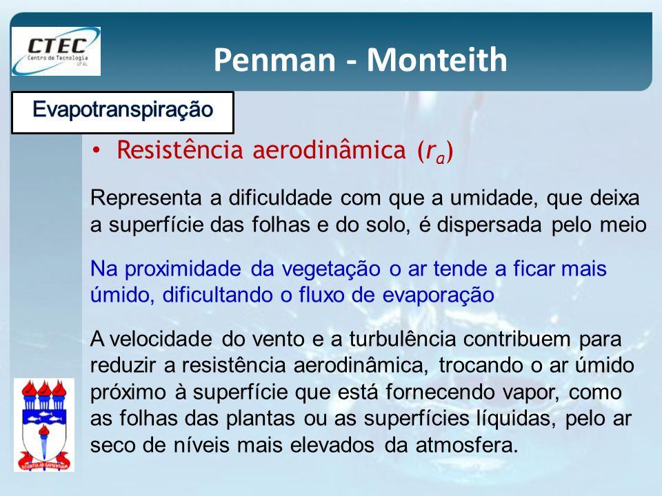 Penman - Monteith Resistência aerodinâmica (r a ) Representa a dificuldade com que a umidade, que deixa a superfície das folhas e do solo, é dispersad