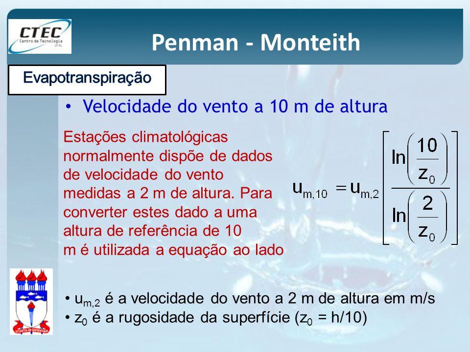 Penman - Monteith Velocidade do vento a 10 m de altura u m,2 é a velocidade do vento a 2 m de altura em m/s z 0 é a rugosidade da superfície (z 0 = h/