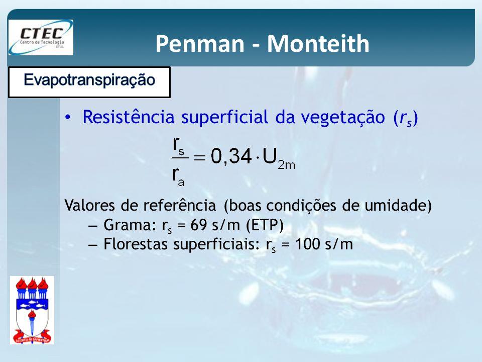 Penman - Monteith Resistência superficial da vegetação (r s ) Valores de referência (boas condições de umidade) – Grama: r s = 69 s/m (ETP) – Floresta