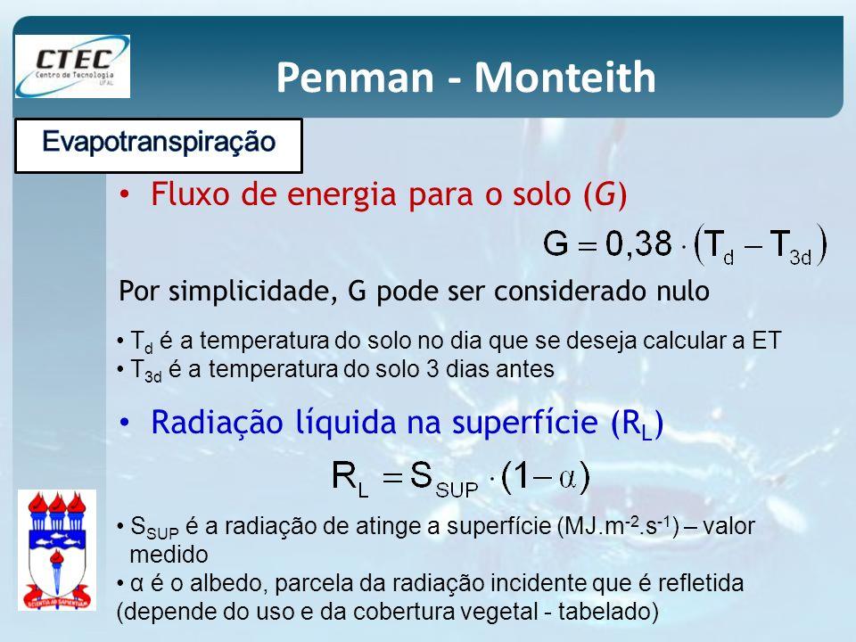 Penman - Monteith Fluxo de energia para o solo (G) Por simplicidade, G pode ser considerado nulo T d é a temperatura do solo no dia que se deseja calc