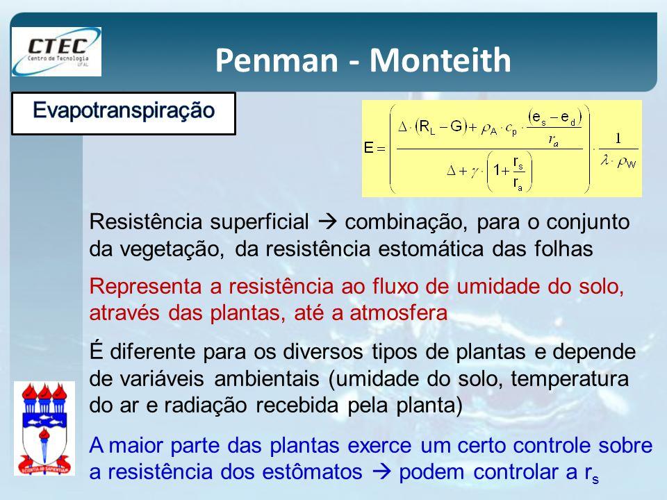 Penman - Monteith Resistência superficial combinação, para o conjunto da vegetação, da resistência estomática das folhas Representa a resistência ao f