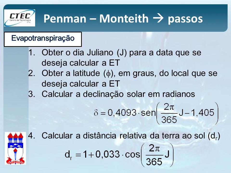 Penman – Monteith passos 1.Obter o dia Juliano (J) para a data que se deseja calcular a ET 2.Obter a latitude ( ), em graus, do local que se deseja ca