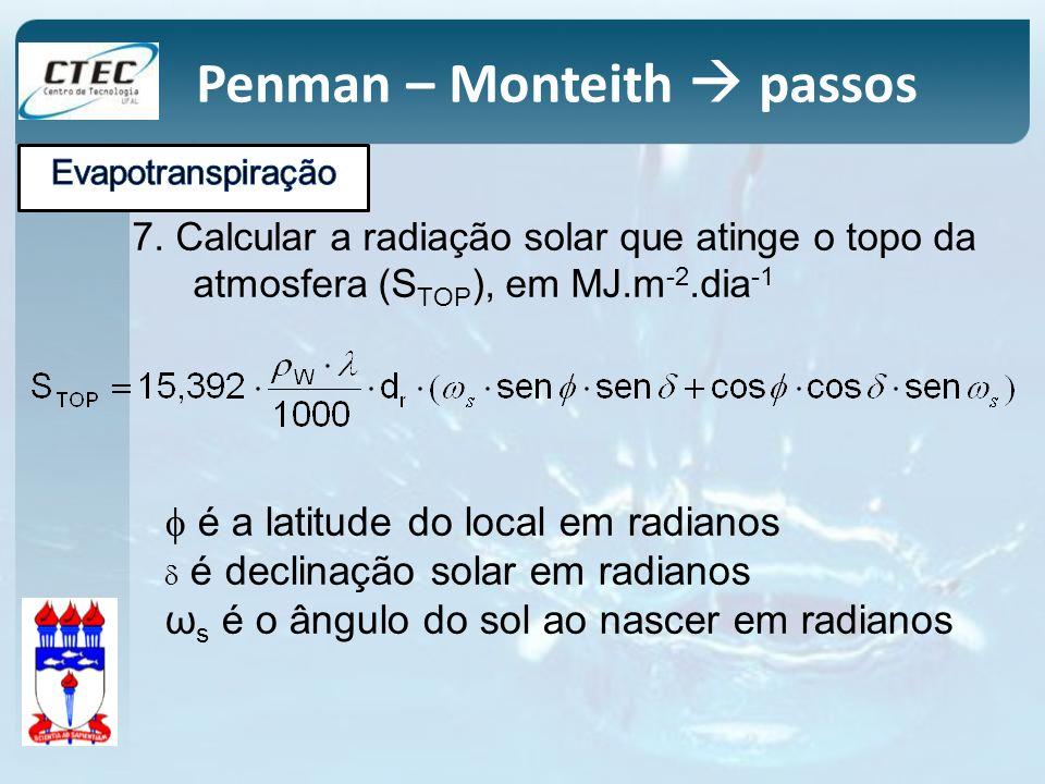 7. Calcular a radiação solar que atinge o topo da atmosfera (S TOP ), em MJ.m -2.dia -1 é a latitude do local em radianos é declinação solar em radian