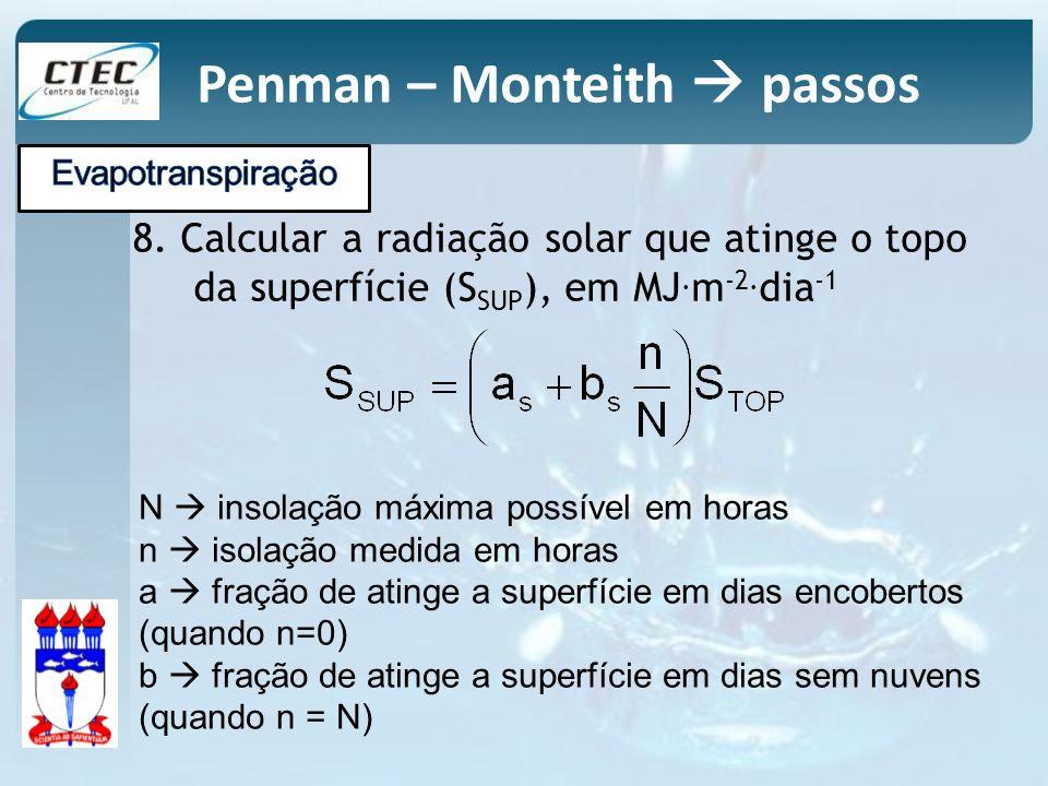 8. Calcular a radiação solar que atinge o topo da superfície (S SUP ), em MJ. m -2. dia -1 N insolação máxima possível em horas n isolação medida em h