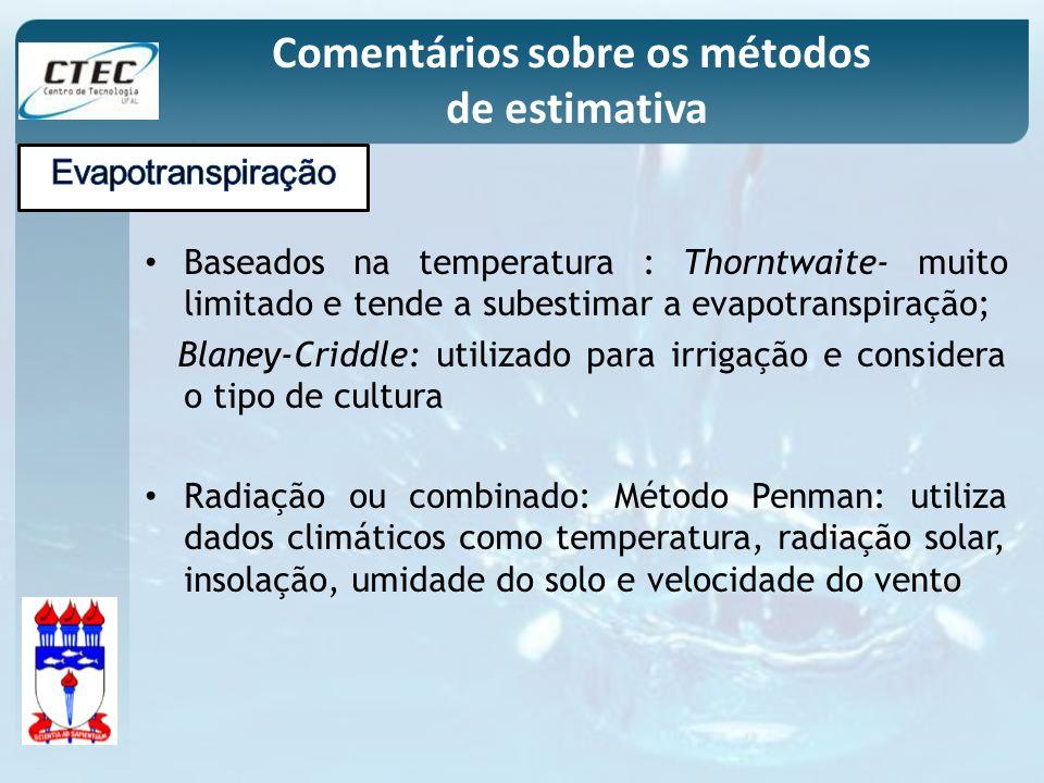 Baseados na temperatura : Thorntwaite- muito limitado e tende a subestimar a evapotranspiração; Blaney-Criddle: utilizado para irrigação e considera o