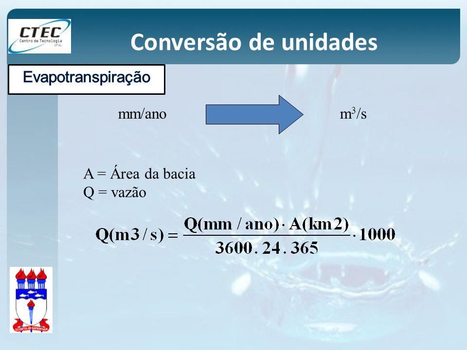 mm/anom 3 /s A = Área da bacia Q = vazão Conversão de unidades
