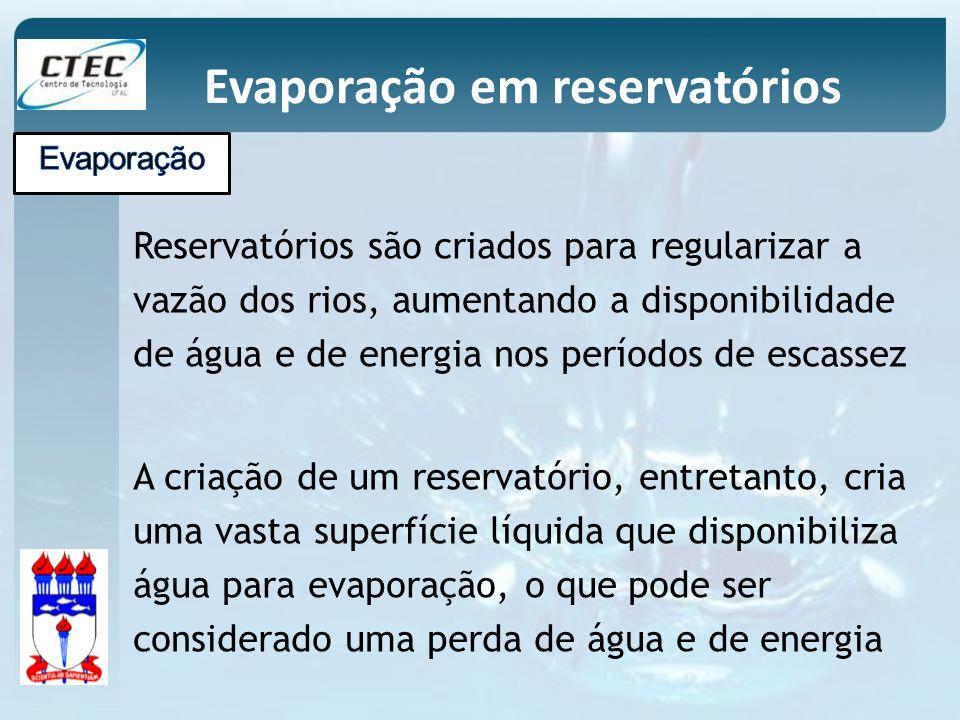 Reservatórios são criados para regularizar a vazão dos rios, aumentando a disponibilidade de água e de energia nos períodos de escassez A criação de u