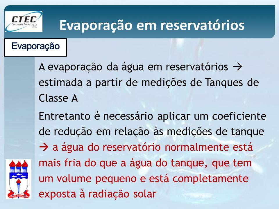 A evaporação da água em reservatórios estimada a partir de medições de Tanques de Classe A Entretanto é necessário aplicar um coeficiente de redução e