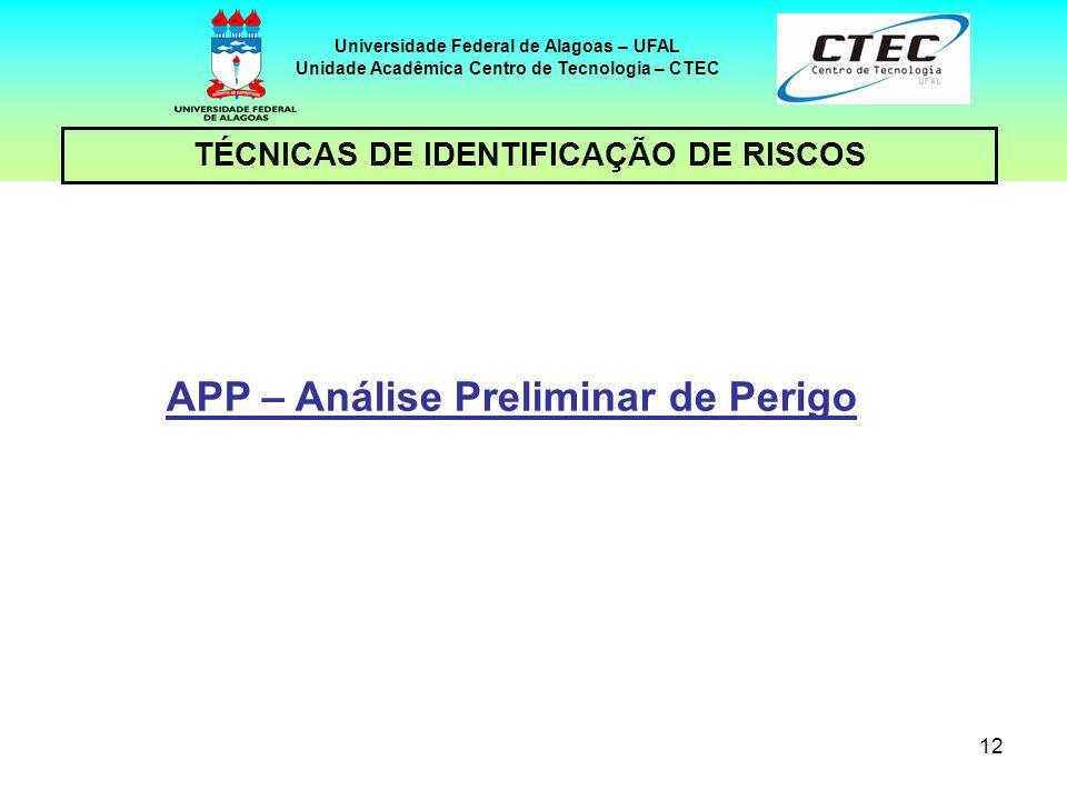 12 TÉCNICAS DE IDENTIFICAÇÃO DE RISCOS Universidade Federal de Alagoas – UFAL Unidade Acadêmica Centro de Tecnologia – CTEC APP – Análise Preliminar d