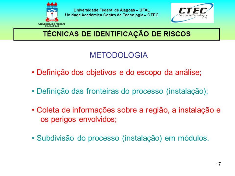 17 TÉCNICAS DE IDENTIFICAÇÃO DE RISCOS Universidade Federal de Alagoas – UFAL Unidade Acadêmica Centro de Tecnologia – CTEC METODOLOGIA Definição dos