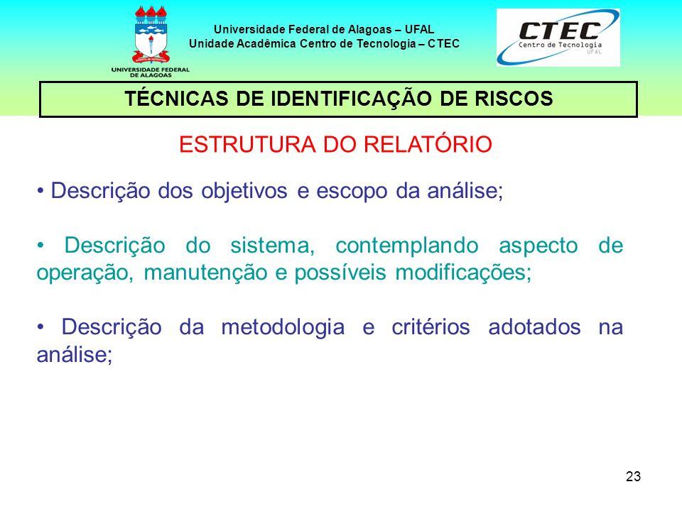 23 TÉCNICAS DE IDENTIFICAÇÃO DE RISCOS Universidade Federal de Alagoas – UFAL Unidade Acadêmica Centro de Tecnologia – CTEC ESTRUTURA DO RELATÓRIO Des