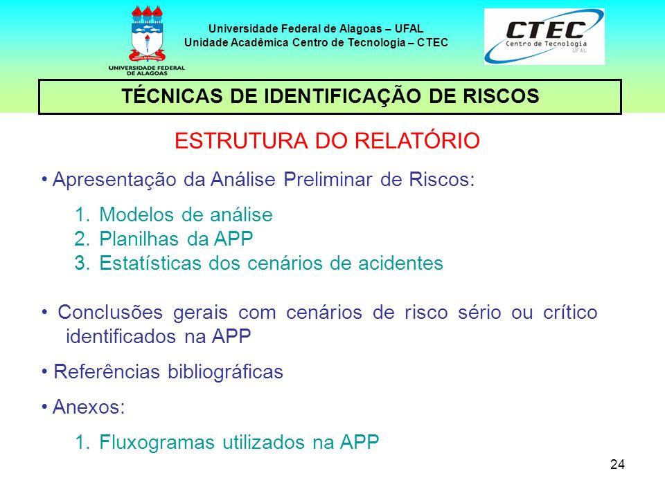 24 TÉCNICAS DE IDENTIFICAÇÃO DE RISCOS Universidade Federal de Alagoas – UFAL Unidade Acadêmica Centro de Tecnologia – CTEC ESTRUTURA DO RELATÓRIO Apr