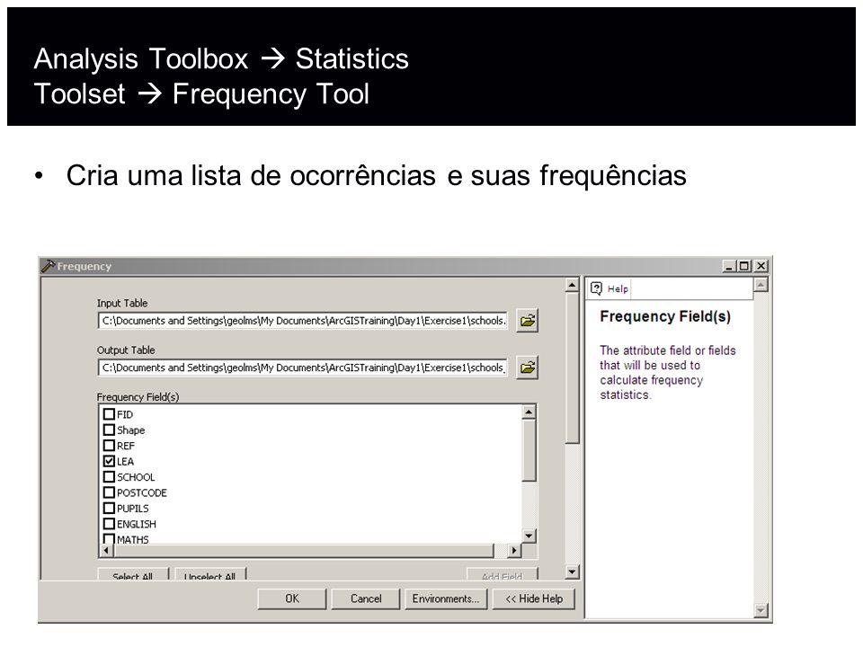 Analysis Toolbox Statistics Toolset Frequency Tool Cria uma lista de ocorrências e suas frequências