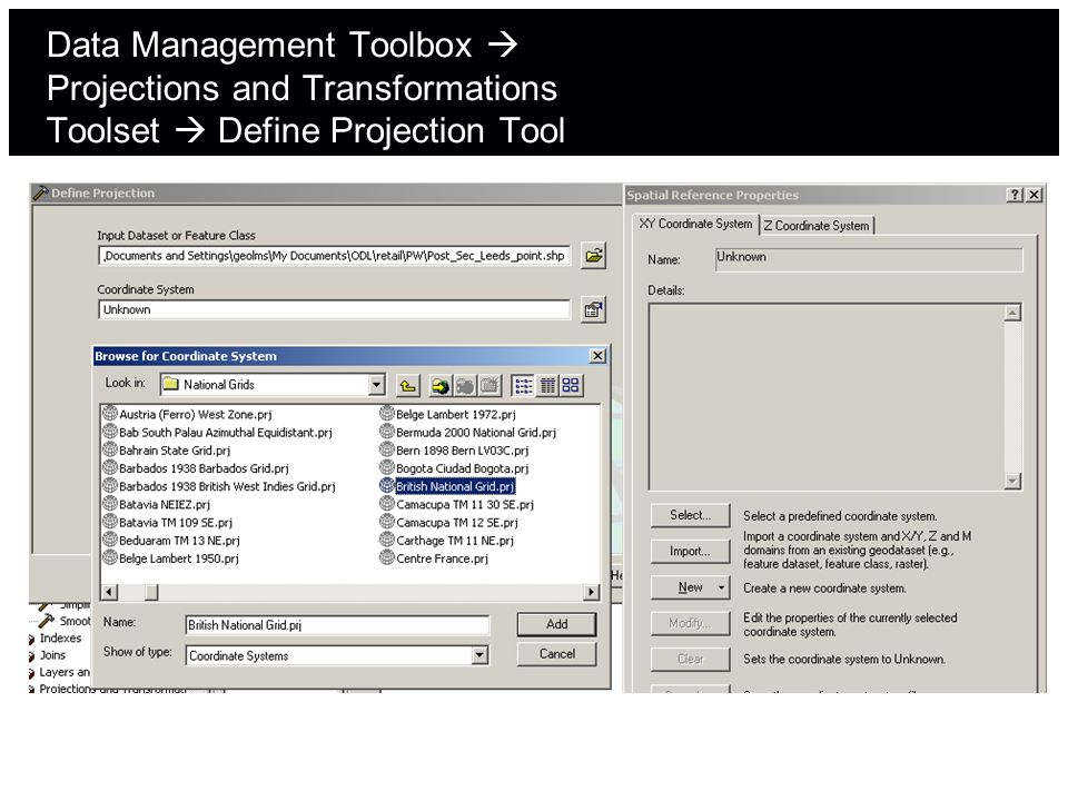 Data Management Toolbox Projections and Transformations Toolset Define Projection Tool