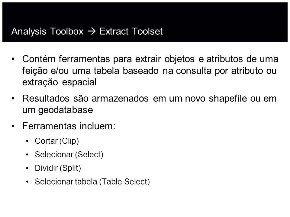 Analysis Toolbox Extract Toolset Contém ferramentas para extrair objetos e atributos de uma feição e/ou uma tabela baseado na consulta por atributo ou
