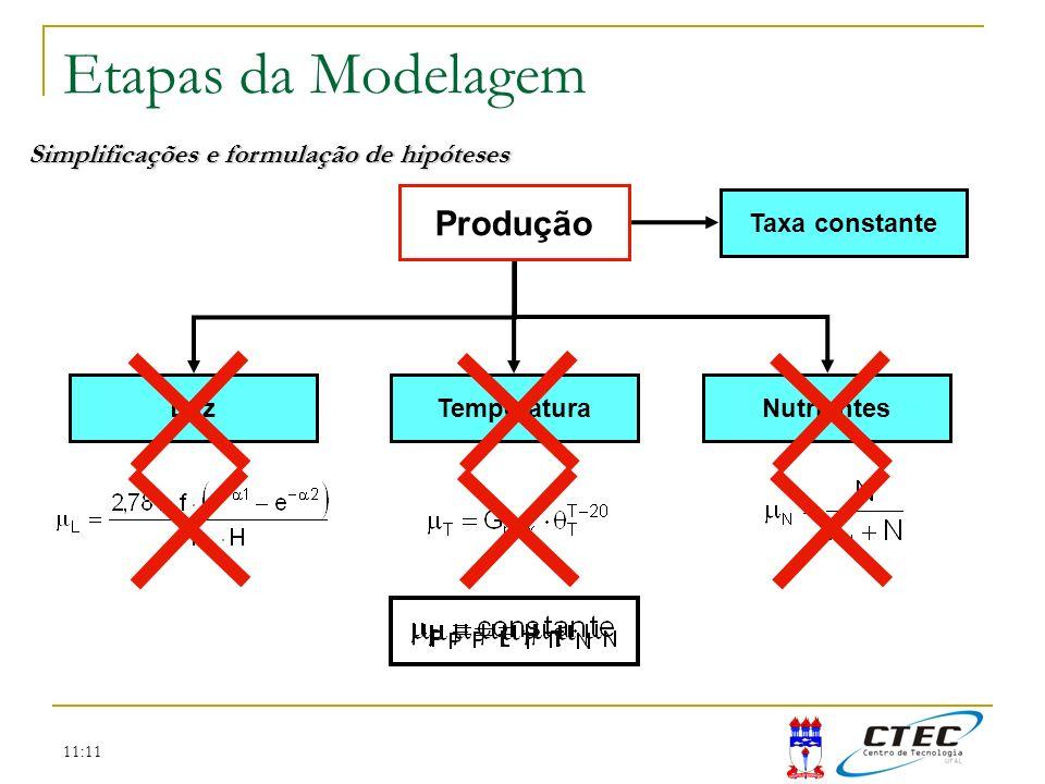 11:11 Etapas da Modelagem Simplificações e formulação de hipóteses Produção LuzTemperaturaNutrientes Taxa constante