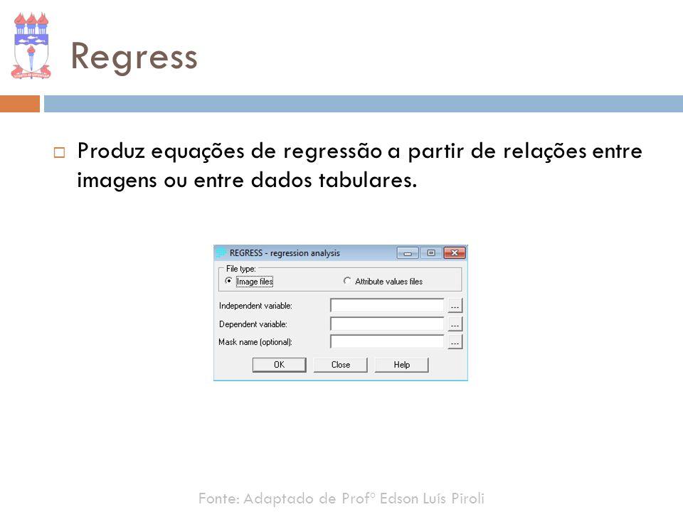 Regress Produz equações de regressão a partir de relações entre imagens ou entre dados tabulares.